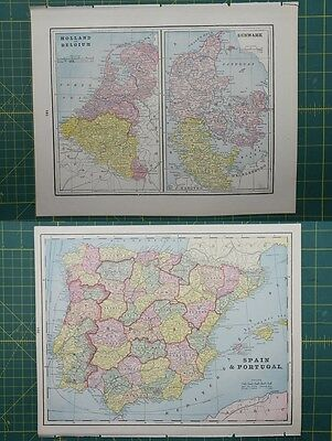 Holland Denmark Spain Portugal Vintage Original 1895 Crams World Atlas Map Lot