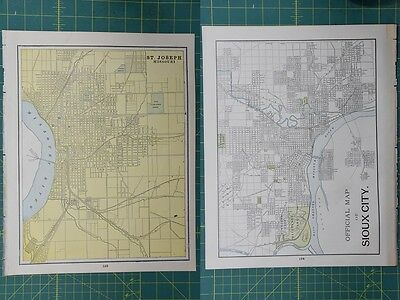 St. Joseph Sioux City Vintage Original 1895 Crams World Atlas Map Lot