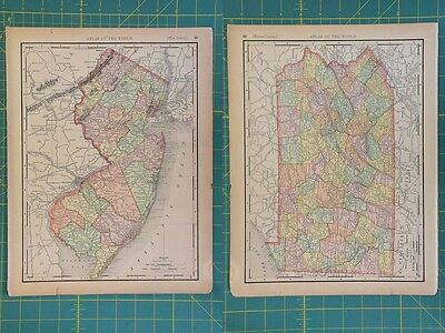 New Jersey Pennsylvania Vintage Original 1894 Rand McNally World Atlas Map Lot