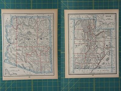 Arizona Utah Vintage Original 1893 Columbian World Fair Atlas Map Lot