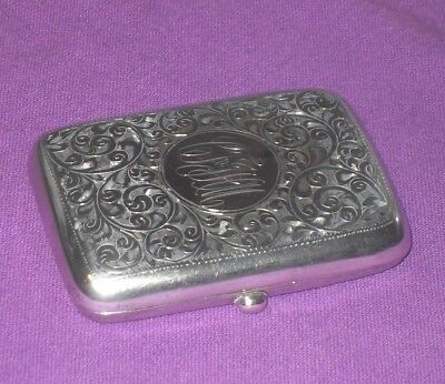 Antique 1914 William Henry Sparrow Solid Sterling Silver Card Cigarette Case