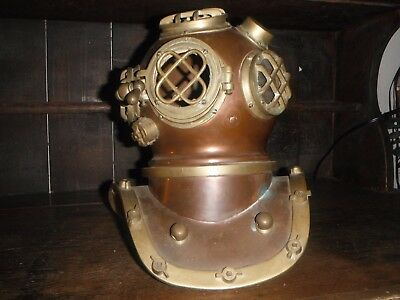 Vintage Nautical Copper with Brass Scuba Diving Helmet 11'' High  by 10 1/2 wide