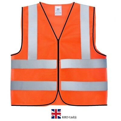 HIGH VISIBILITY SAFETY VEST Hi Vis Viz EN471 Reflective Mesh Work Waistcoat UK