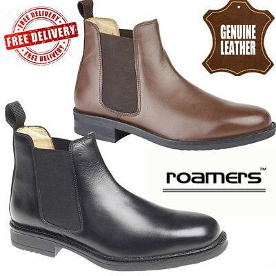 3987f163afa ROAMERS MENS TWIN Gusset Padded Gents Leather Shoes Chelsea Dealer Boots