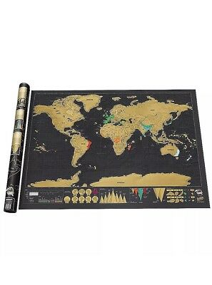 Black Large Scratch Off Deluxe World Map Poster Personalized Travel Vacation