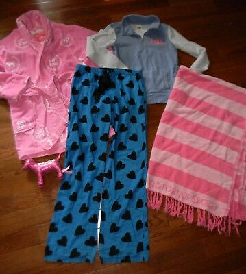 6 pc. ~VICTORIA'S SECRET PINK~Sweatshirt...Robe..Pants..Bag & Blanket Lot, sz XS