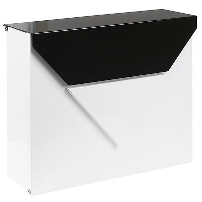 Hartleys White & Black Locking Letter Box Wall Mount Outdoor Mailbox Home Mail