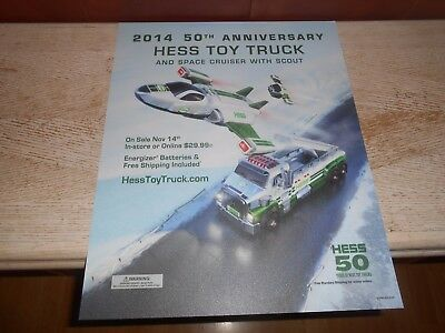 2014 HESS  SIGN ONLY - 50th ANNIVERSARY TOY TRUCK & SPACE CRUISER SIGN - RARE -