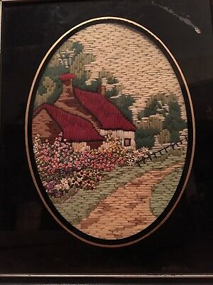 Antique Victorian Framed Needle Point Sampler Country Home And Flowers