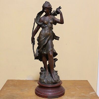 Large Bronzed Spelter Figure 'Diane Chasseresse' after Auguste Moreau