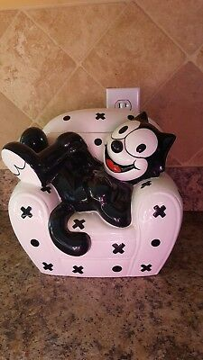 1997 Clay Art Felix The Cat on Chair Cookie Jar! Pet Treats Ceramic Deco