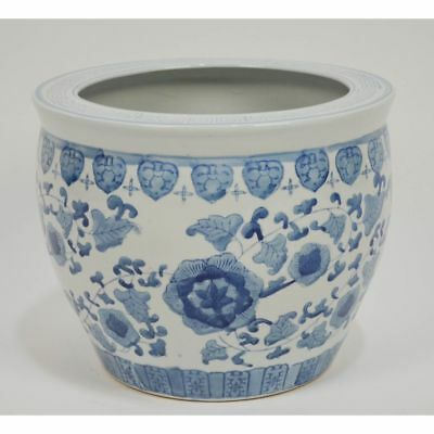 Large Vintage Hand Painted Chinese Blue & White Planter / Fish Bowl Jardiniere