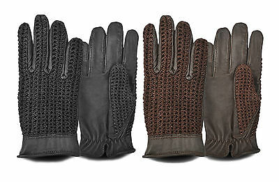 Men's Leather Crochet Back Vintage Retro Style Driving Chauffeur Type Gloves