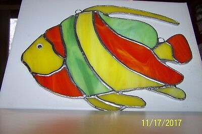 "Stained glass fish-Hand crafted suncathcher- 10"" W x 8"" H-yellow/orange/green"