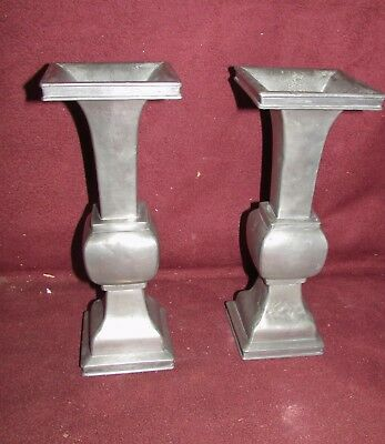 Pair Antique Chinese Pewter Paktong Signed Vases