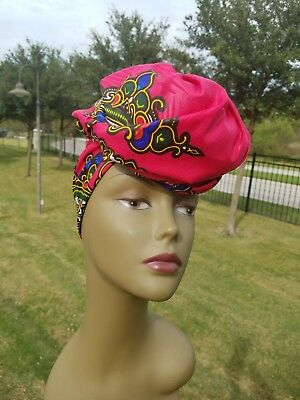 Pink Dashiki Head wrap;Pink African Headwrap; African Clothing; African Fabric