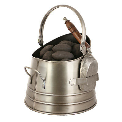 Traditional Silver Coal / Wood Burning Fire Fireside Bucket Scuttle & Shovel
