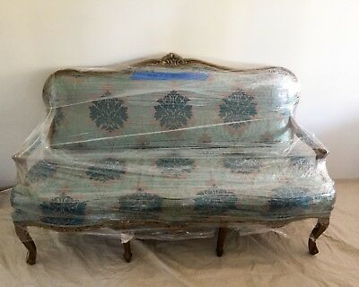 Coral Blue Victorian Couch