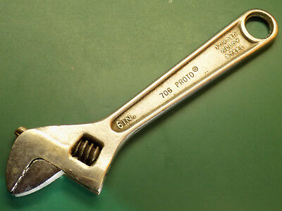 """PROTO No. 706 - 6"""" ADJUSTABLE crescent WRENCH - Made in USA   Vintage"""