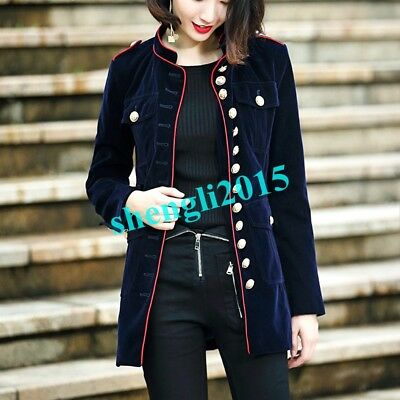 Womens Vintage Velvet Single Breasted British Style Trench Coats Outwear Thicken