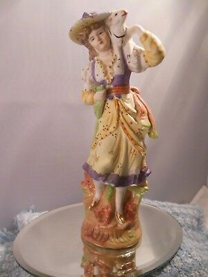 """VTG. PAULUX BISQUE COLONIAL TIME WOMEN w/LAMB FIGURINE  8 1/4"""" TALL"""
