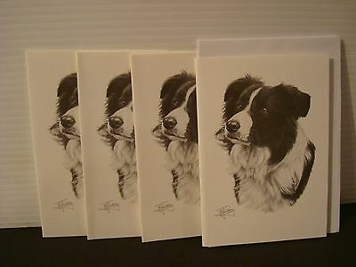 BORDER COLLIE PACK OF 4 DOG PRINT GREETINGS NOTE CARDS, by Mike Sibley