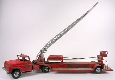 Vintage 1960's Tonka Tfd 5 Hydraulic Aerial Ladder Red Fire Engine Toy Truck