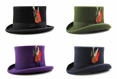 Top Hat Quality Hand Made 100% Wool Wedding Ascot Hat Many Colours All Sizes