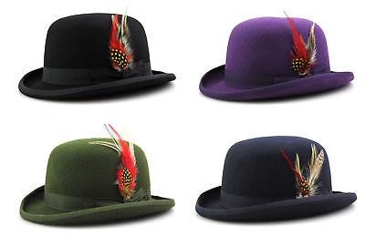Bowler Hat Quality Hand Made 100% Wool Wedding Ascot Hat Many Colours All Sizes