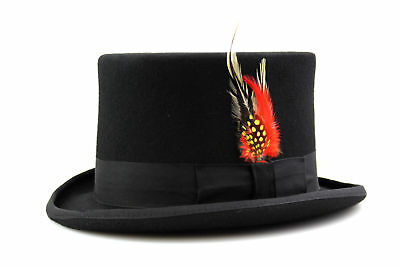 Black Top Hat Quality Hand Made 100% Wool Wedding Ascot Hat Colours All Sizes