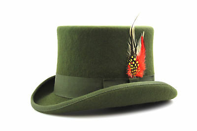 Green Top Hat Quality Hand Made 100% Wool Wedding Ascot Hat Colours All Sizes