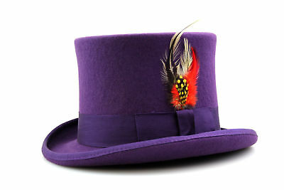 Purple Top Hat Quality Hand Made 100% Wool Wedding Ascot Hat Colours All Sizes