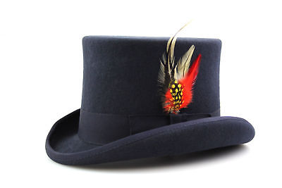 Blue Top Hat Quality Hand Made 100% Wool Wedding Ascot Hat Colours All Sizes