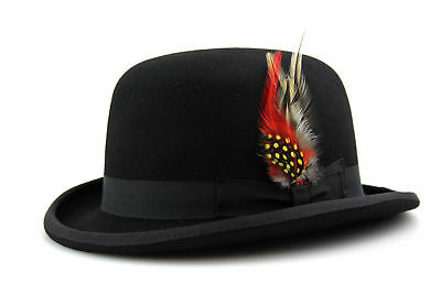 Black Bowler Hat Quality Hand Made 100% Wool Wedding Ascot Hat Colours All Sizes