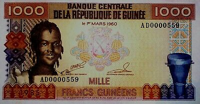 Guinee/Guinea 1000 francs 1985 UNC low serial number
