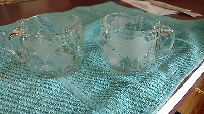 Set of 2 Vintage 1970s NESTLE Nescafe Glass World Globe Map Coffee Cups Mugs