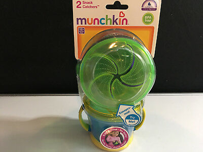 Munchkin Snack Catcher - 2 Pk Green/purple  and Yellow/blue   NEW SEALED