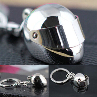 1PC Gift Creative Silver Chain Keychain Motorcycle Helmet Key Ring Decor Gift