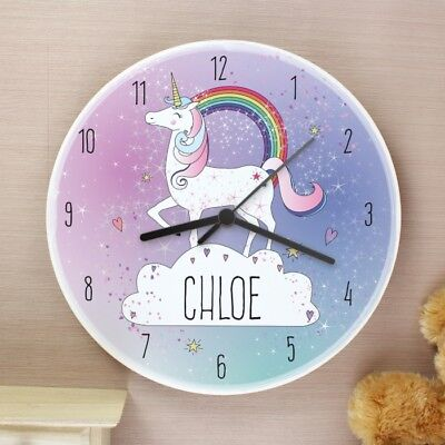 PERSONALISED Name Wooden Rainbow Unicorn Hanging Wall Clock Pink Nursery Bedroom