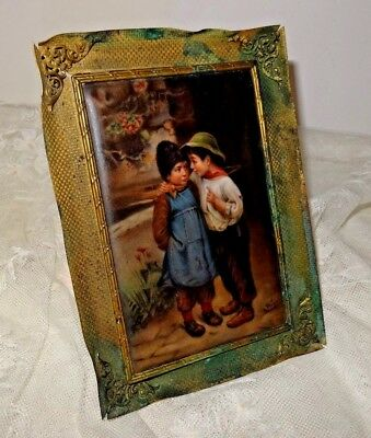Antique 1800's Handpainted Porcelain Plaque TWO BOYS Signed WAGNER Germany KPM?