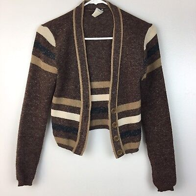 Vintage Womens Small Medium Brown Cardigan 1950s Style Pin Up Hipster