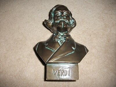 Lovely  Vintage Bust Of Verdi  Made In Italy Bronze Look   Lovely Finish