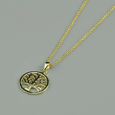 Tree of Life Pendant Sterling Silver 925 Gold-Tone Necklace 18'' with a Gift Box