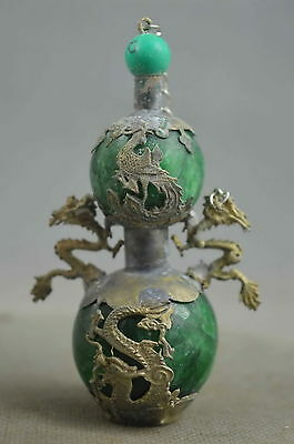 collectible handwork old agate & miao silver carve dragon & phoenix snuff bottle