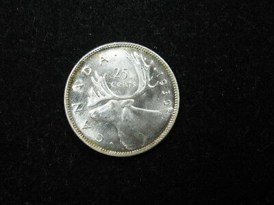 """1 old world SILVER coin CANADA 25 cents quarter 1939 KM35 """"caribou"""" FREE S&H"""