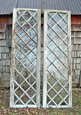 Antique Pair Of Glass Diamond Panel French Doors