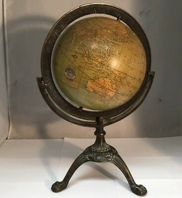 "Rare Antique G.W. Bacon & Co. London 8"" Terrestrial Globe Eau Claire WI Retailer"