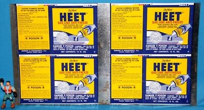 Vintage HEET Gas Treatment Label & Tin Can Material Cut From Large Sheet - RARE