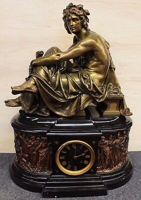Tiffany & Co. Antique Marble and bronze Mantle Clock with Seated Bronze AMAZING