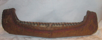 """Antique 19"""" Birch Bark Wood CANOE Native American Art Handcrafted Painted"""